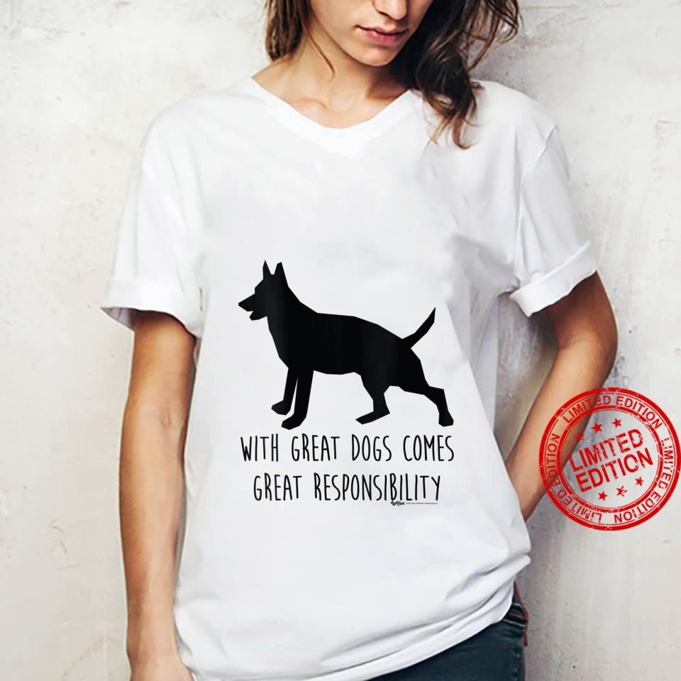 Womens With Great Dogs Comes Great Rescue Dog Word Design Shirt ladies tee