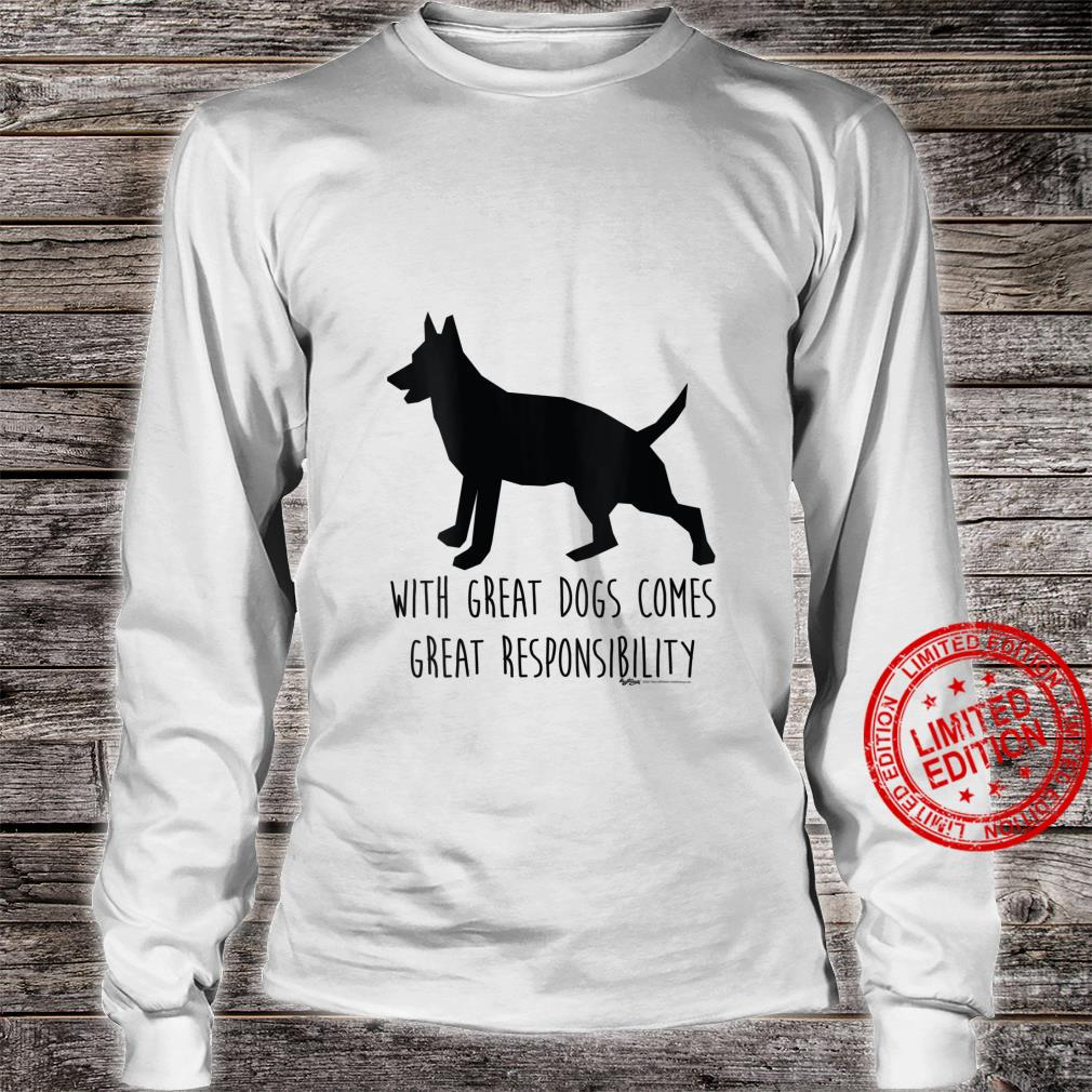 Womens With Great Dogs Comes Great Rescue Dog Word Design Shirt long sleeved