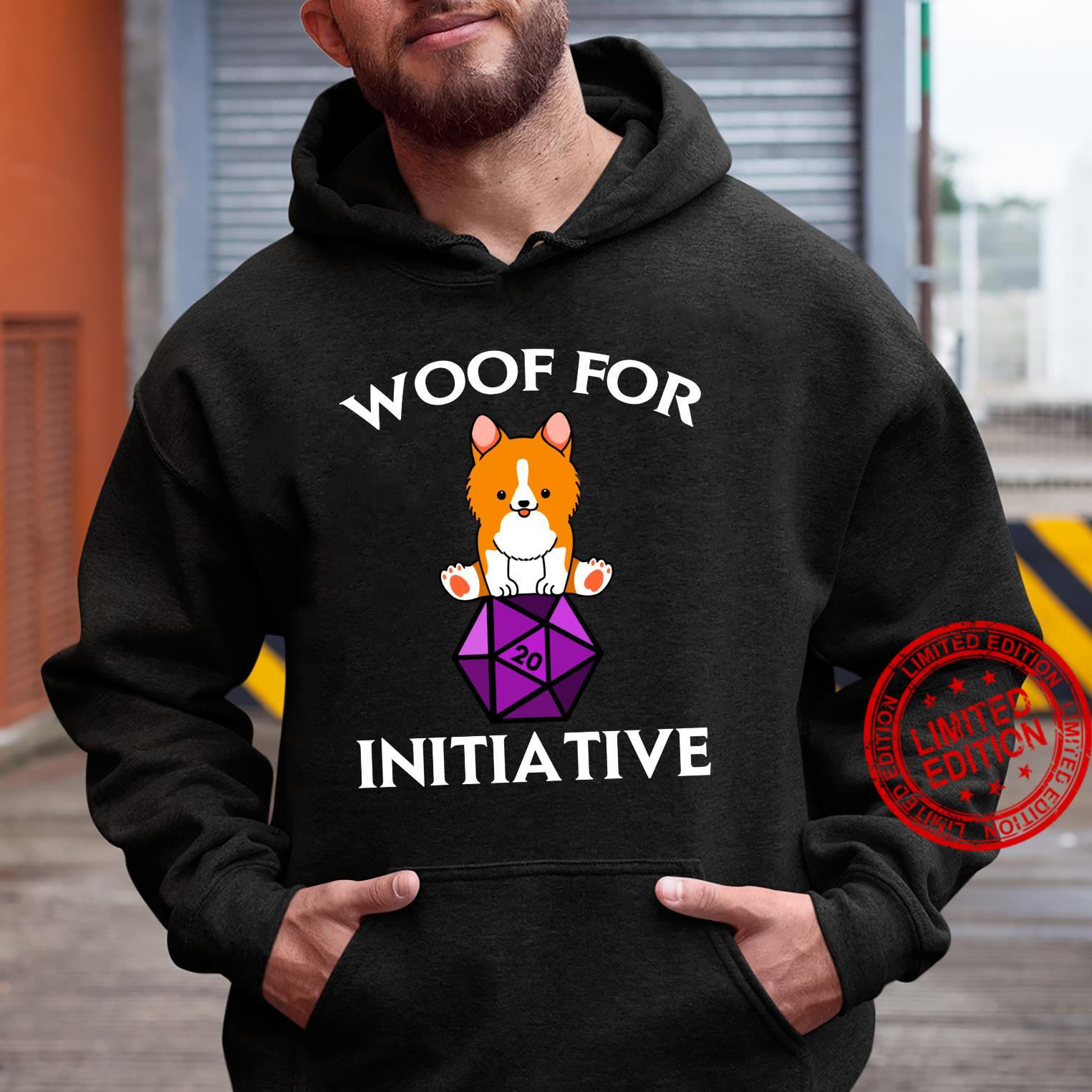 Woof For Initiative Corgi Dungeons and Dogs D20 RPG Shirt hoodie