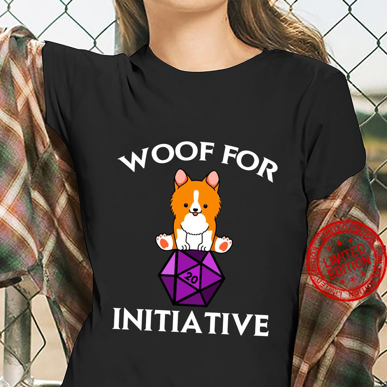 Woof For Initiative Corgi Dungeons and Dogs D20 RPG Shirt ladies tee