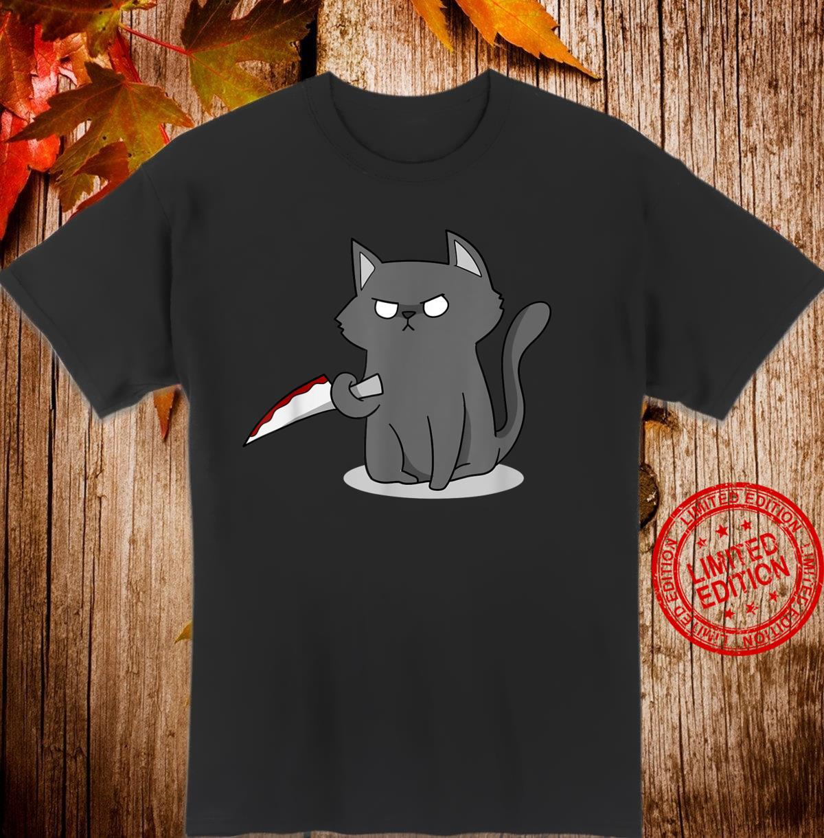 Cat Black I Cat Murderous I Cat With Knife I Cat Shirt