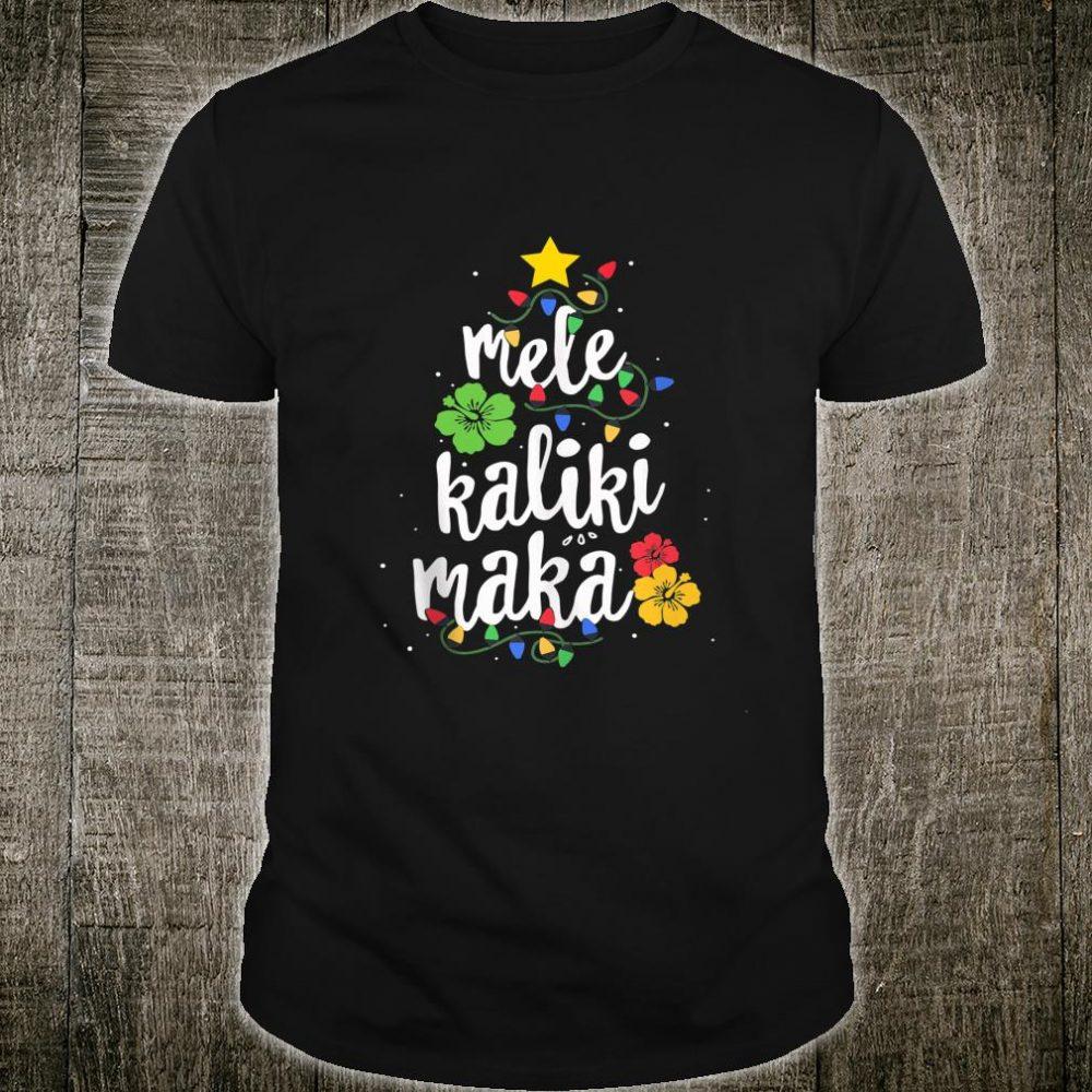 Christmas Tree light Mele Kalikimaka Tropical Hawaii Shirt