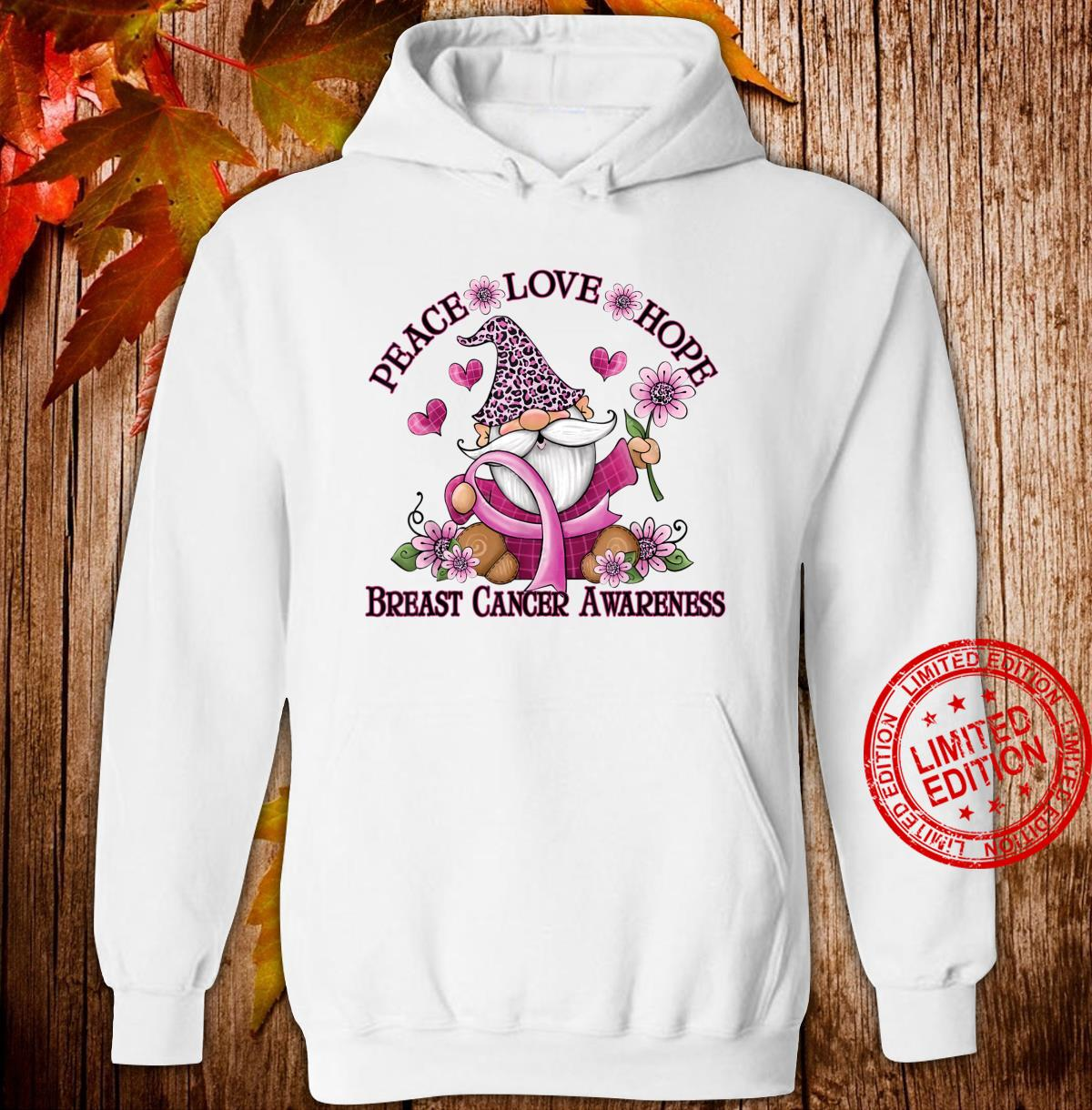 Funny Gnomes Ribbon Flower Breast Cancer Awareness Shirt hoodie
