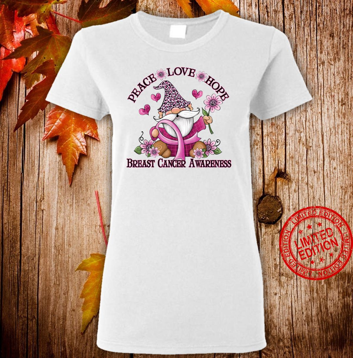Funny Gnomes Ribbon Flower Breast Cancer Awareness Shirt ladies tee