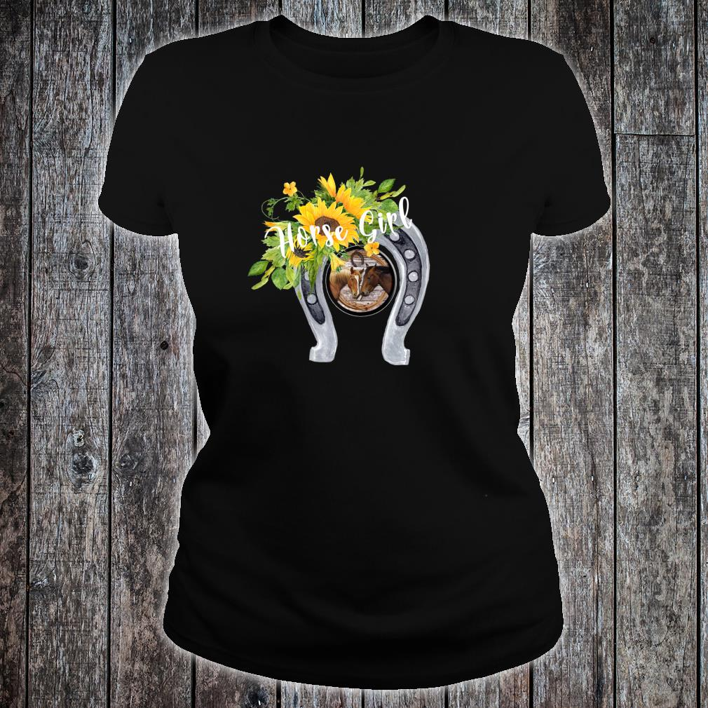 Horse for Girls with Sunflowers Horseshoes 2 Horses Shirt ladies tee