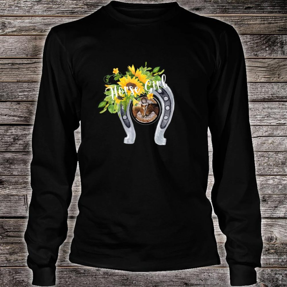 Horse for Girls with Sunflowers Horseshoes 2 Horses Shirt long sleeved