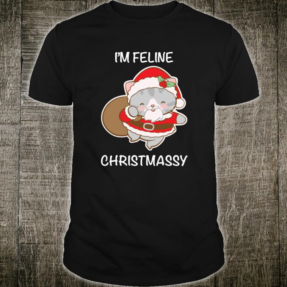 Kawaii Santa Claus Cat Cute Christmas Shirt