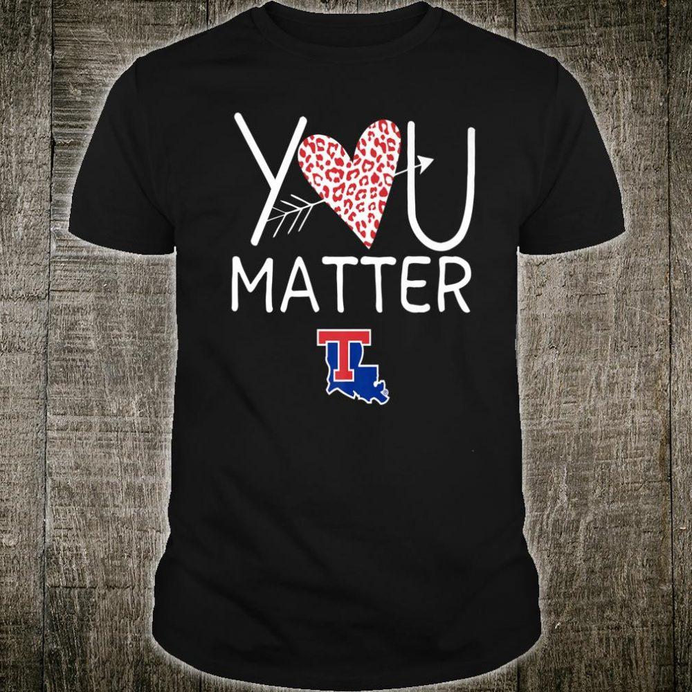 Louisiana Tech Bulldogs Teacher You Matter Leopard Heart Shirt
