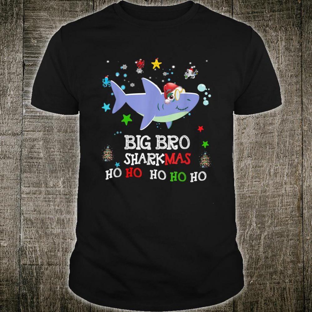 Mens Big Bro Sharkmas Santa Shark Christmas Pajama Costume Shirt
