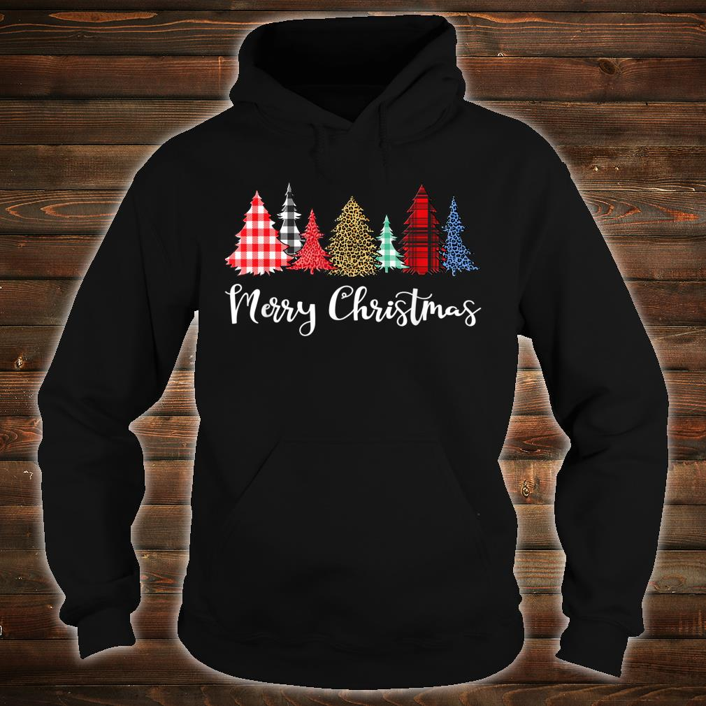 Merry Xmas Outfit Leopard Plaid Printed Christmas Trees Shirt hoodie