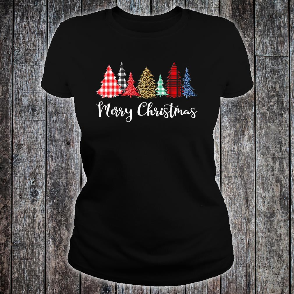 Merry Xmas Outfit Leopard Plaid Printed Christmas Trees Shirt ladies tee