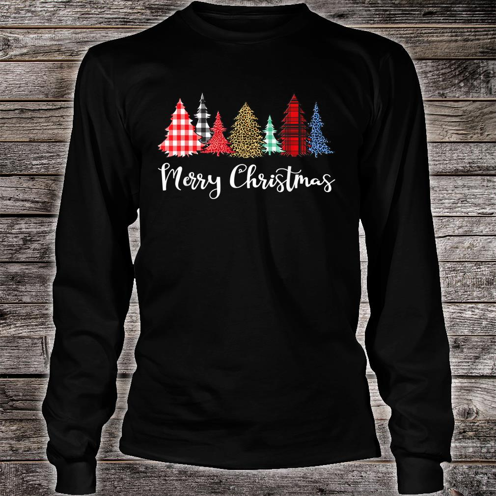 Merry Xmas Outfit Leopard Plaid Printed Christmas Trees Shirt long sleeved
