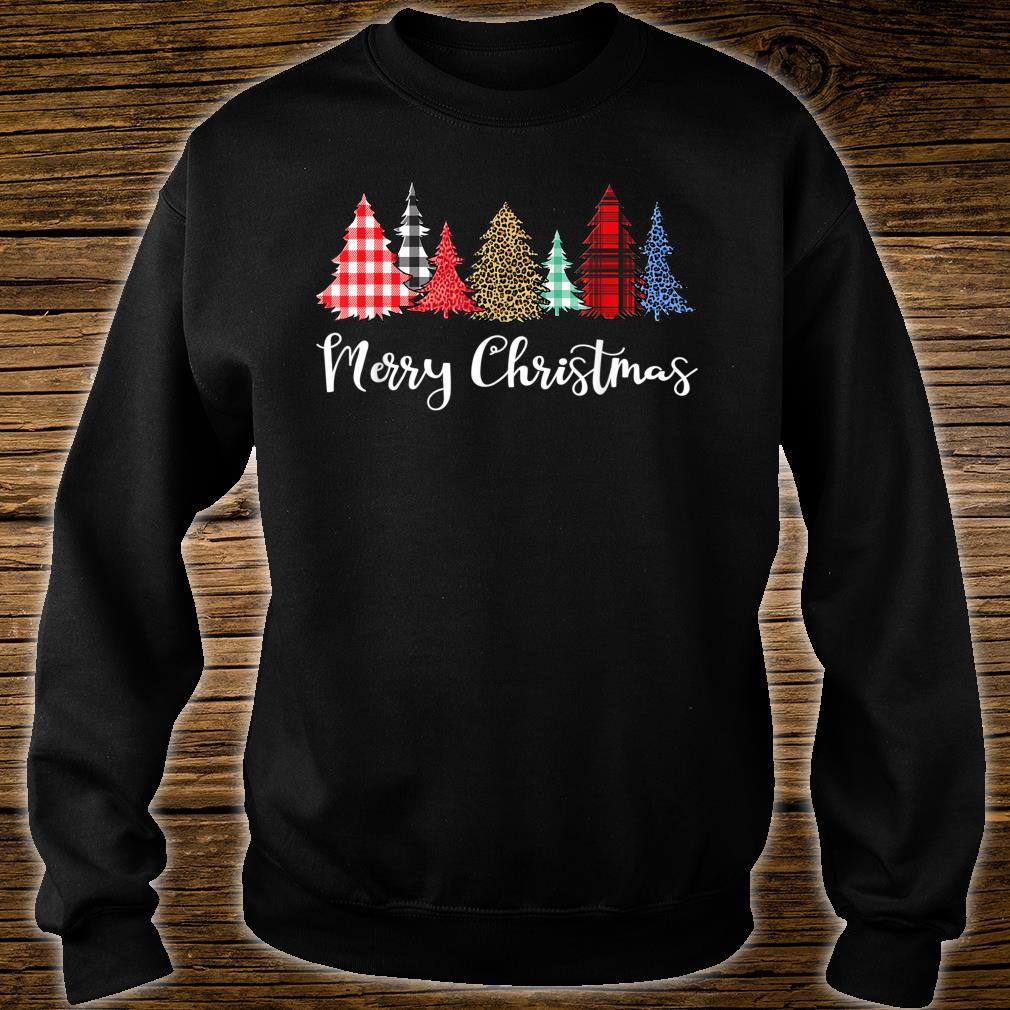 Merry Xmas Outfit Leopard Plaid Printed Christmas Trees Shirt sweater