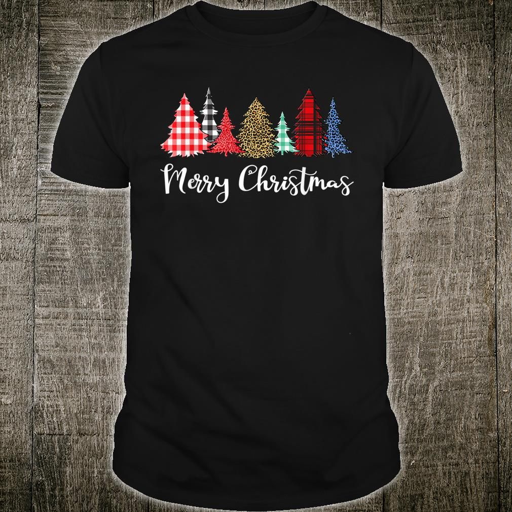 Merry Xmas Outfit Leopard Plaid Printed Christmas Trees Shirt