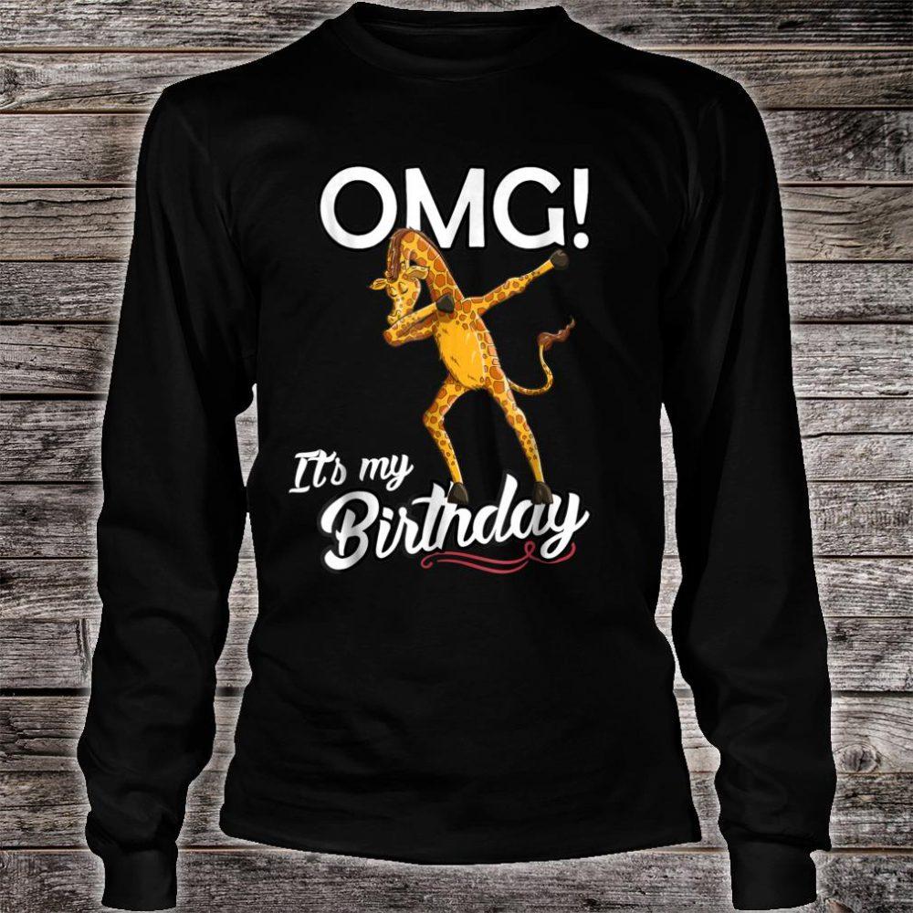 OMG It's My Birthday Dabbing Giraffe Dab Dance Shirt long sleeved