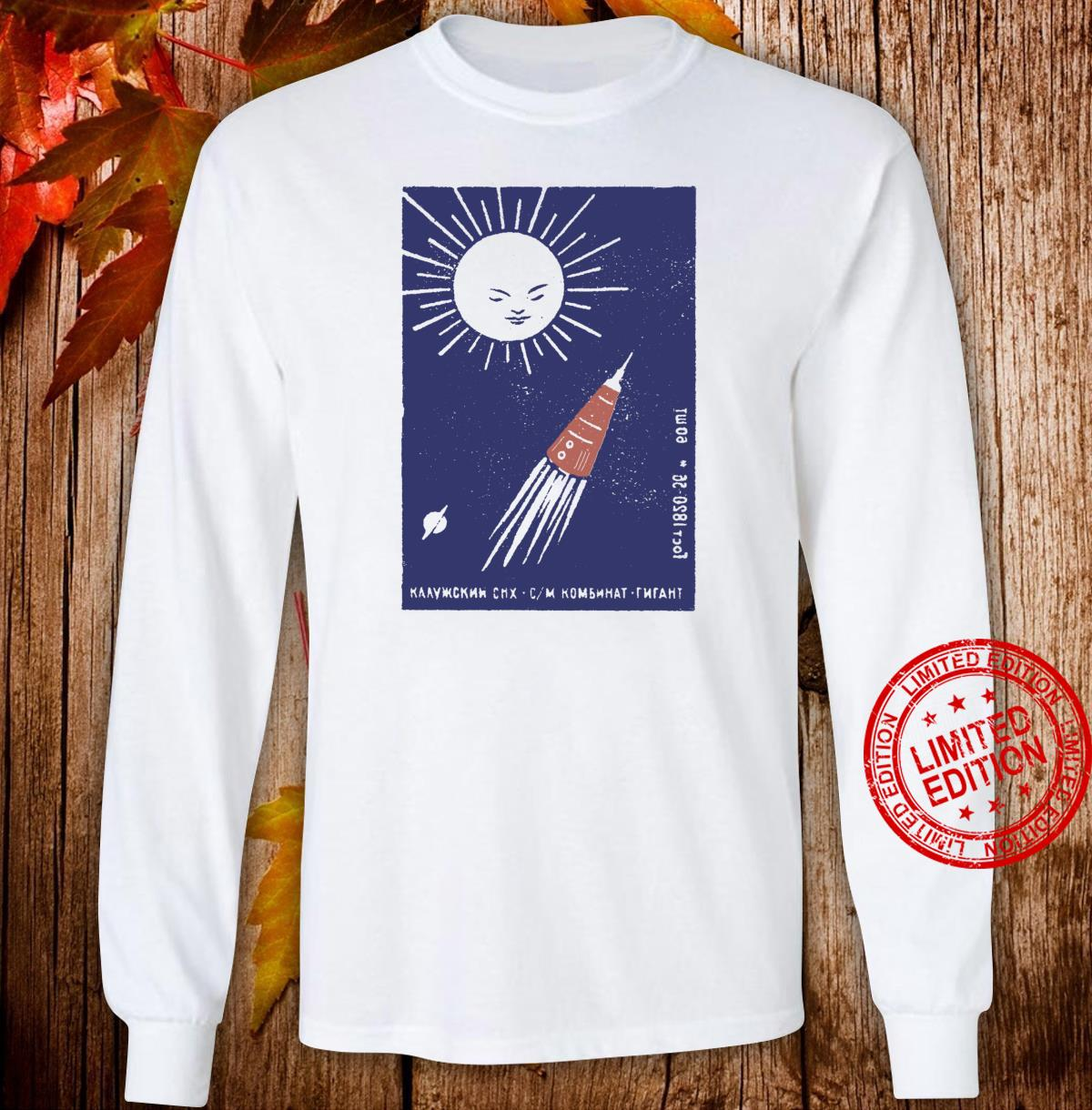 Russian Retro Spaceship and Planet Design Shirt long sleeved