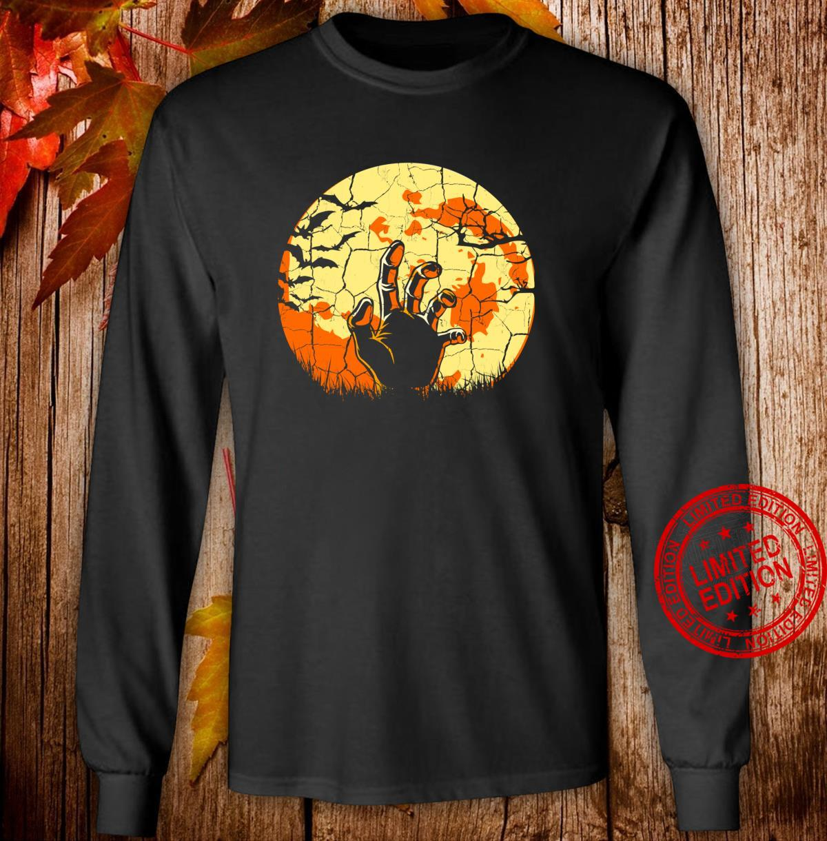 Sunset Moon Zombie Hand Halloween Party Apocalypse Spooky Shirt long sleeved