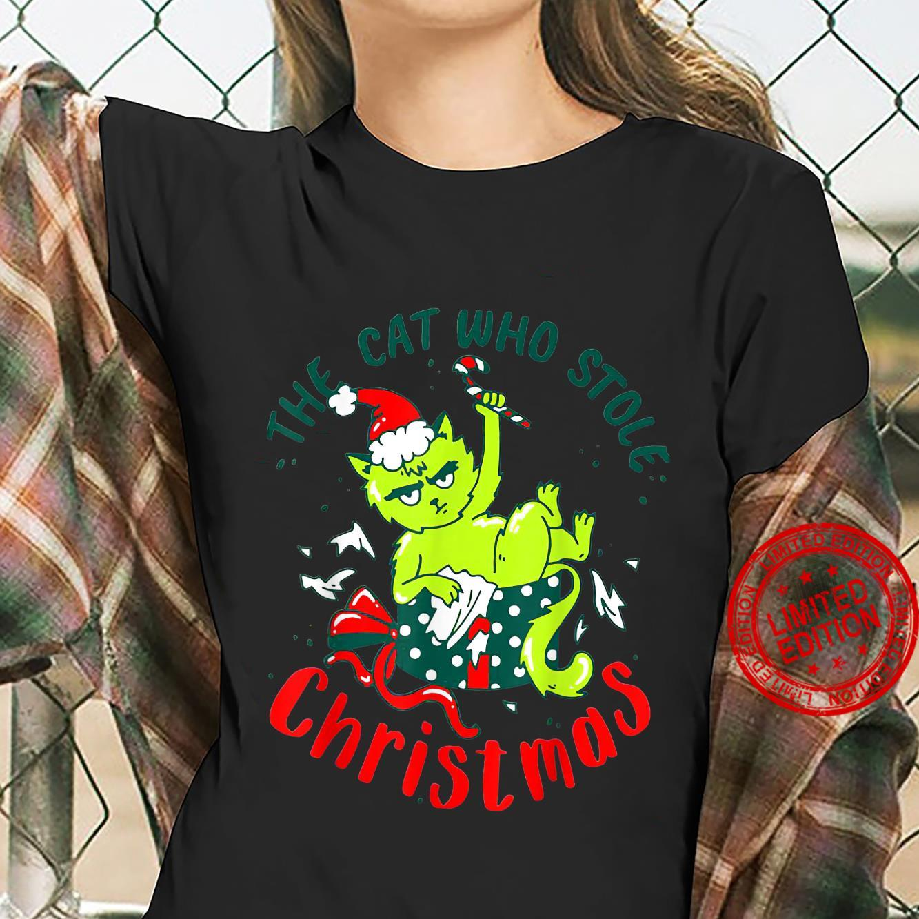 The Cat Who Stole Christmas Holiday Shirt ladies tee
