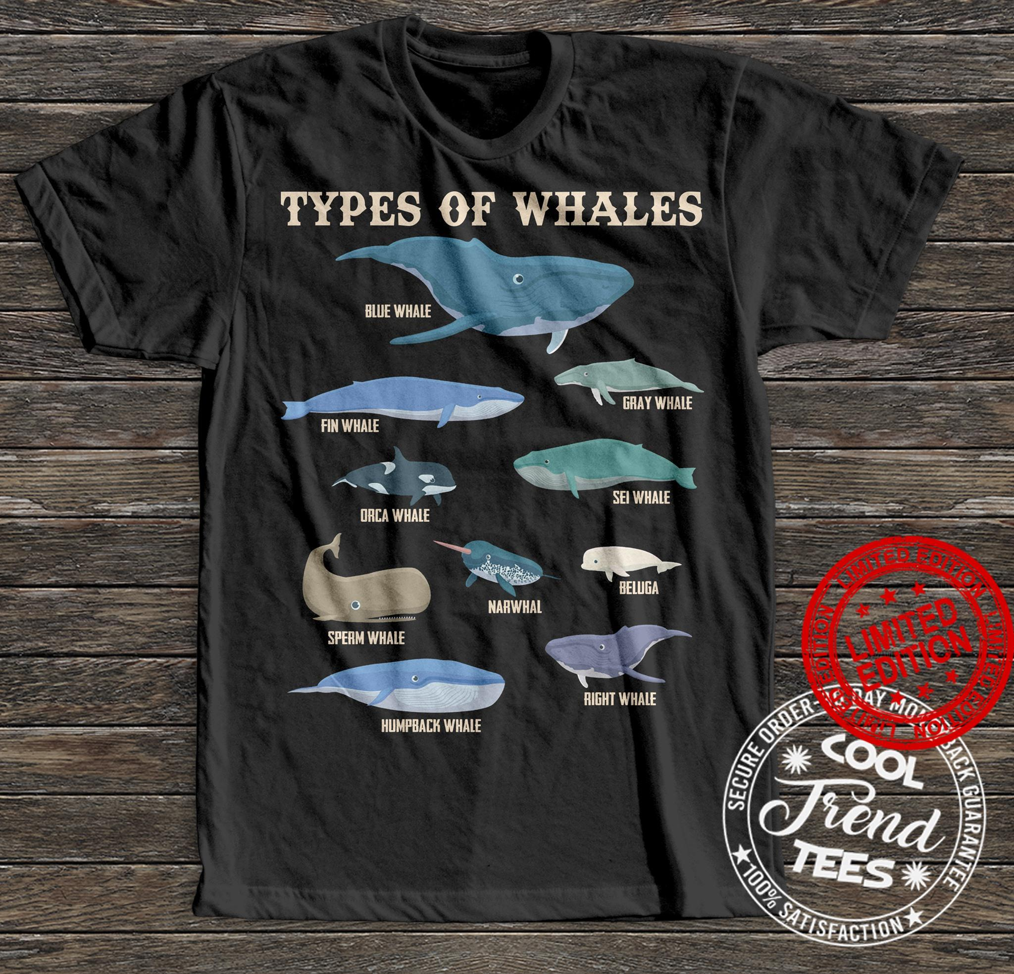 Types Of Whales Blue Whale Fin Whale Gray Whale Shirt